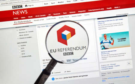 bbc: MONTREAL, CANADA - JUNE 24, 2016 : Brexit results on BBC news site under magnifying glass. The Brexit, an abbreviation of British exit refers to the possibility of Britains withdrawal from the EU