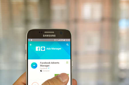 advertisers: MONTREAL, CANADA - JUNE 24, 2016 : Facebook Ads Manager on Samsung S7 screen. Ads Manager is built to help Facebook advertisers manage and create ads from mobile devices.