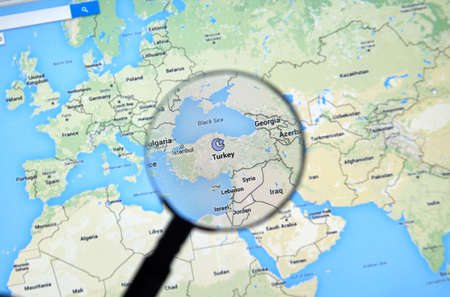 parliamentary: MONTREAL, CANADA - JUNE 24, 2016 - Turkey on Google Maps app under magnifying glass. Turkey officially the Republic of Turkey is a parliamentary republic in Eurasia. Editorial