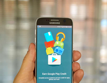 opinion: MONTREAL, CANADA - JUNE 23, 2016 : Google Opinion Rewards application on Samsung S7 screen. Google Opinion Rewards is an app created by Google Consumer Surveys.