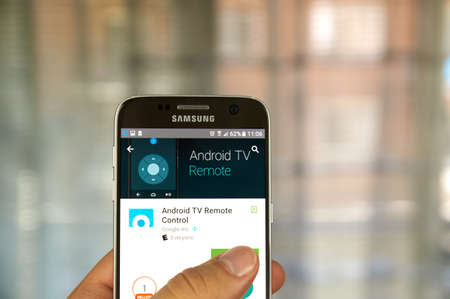samsung: MONTREAL, CANADA - JUNE 23, 2016 : Google Android Remote Control application on Samsung S7 screen.