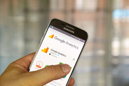 MONTREAL, CANADA - JUNE 23, 2016 : Google analytics application on Samsung S7 screen. Google Analytics is a freemium web analytics service offered by Google that tracks and reports website traffic. Editorial