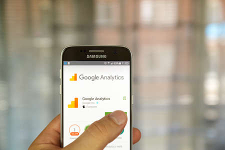adwords: MONTREAL, CANADA - JUNE 23, 2016 : Google analytics application on Samsung S7 screen. Google Analytics is a freemium web analytics service offered by Google that tracks and reports website traffic. Editorial
