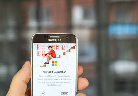 google play: MONTREAL, CANADA - MAY 23, 2016 - Microsoft apps on Google play. Microsoft is an American multinational technology company. Editorial