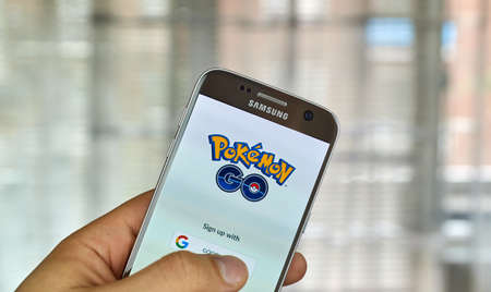 MONTREAL, CANADA - JULY, 14 : Pokemon Go on Samsung s7 screen. Pokemon Go, a free-to-play augmented reality mobile game developed by Niantic for iOS and Android devices. Editorial