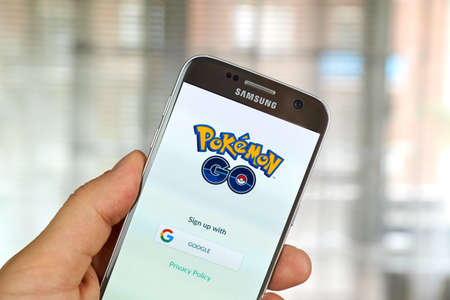 go: MONTREAL, CANADA - JULY, 14 : Pokemon Go on Samsung s7 screen. Pokemon Go, a free-to-play augmented reality mobile game developed by Niantic for iOS and Android devices. Editorial
