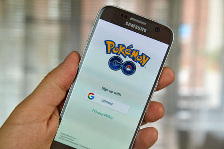 samsung: MONTREAL, CANADA - JULY, 14 : Pokemon Go on Samsung s7 screen. Pokemon Go, a free-to-play augmented reality mobile game developed by Niantic for iOS and Android devices. Editorial