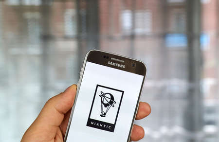 samsung: MONTREAL, CANADA - JULY, 14 : Niantic logo and application on Samsung S7 screen. Niantic, Inc. is an American software development company based in San Francisco, California. Editorial