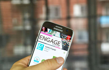 adobe: MONTREAL, CANADA - JULY, 15 : Adobe application on Samsung s7 screen. Adobe Engage is the Adobe Partner Program magazine. Editorial