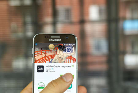 MONTREAL, CANADA - JULY, 15 : Adobe Create Magazine app on Samsung s7 screen. It's a free app that contains original content geared toward informing, enlightening, and inspiring creative professionals