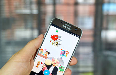 MONTREAL, CANADA - AUGUST 24, 2016 : Facebook Stickered app. Stickered for Messenger is an official app developed by Facebook that lets you add hundred of stickers to your photos in a very simple way