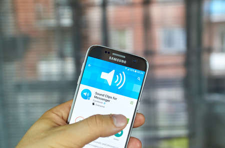 logo samsung: MONTREAL, CANADA - JUNE 24, 2016 : Sound Clips for Messenger can send pre-recorded sounds and phrases to make Facebook messages come to life.
