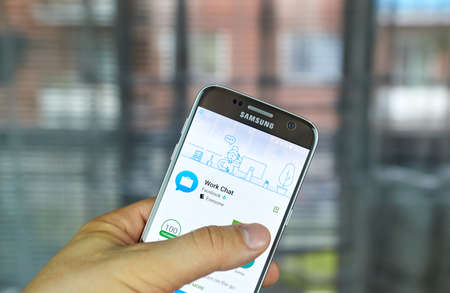 MONTREAL, CANADA - JUNE 24, 2016 : Facebook Work Chat application on Samsung S7 screen. Work Chat is the companion app for Workplace by Facebook