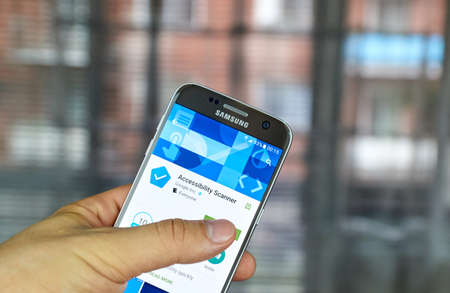 suggests: MONTREAL, CANADA - JUNE 23, 2016 : Google app on Samsung S7 screen. Accessibility Scanner is a tool that suggests accessibility improvements for Android apps without requiring technical skills