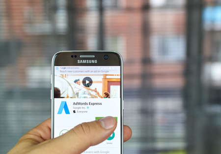 adwords: MONTREAL, CANADA - JUNE 23, 2016 : Google Adwords Express application on Samsung S7 screen. AdWords Express helps to reach new customers on Google.