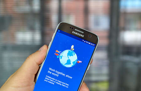 MONTREAL, CANADA - JUNE 23, 2016 : Google My Maps app on Samsung S7 screen. Google My Maps is a service launched that enables users to create custom maps for personal use or sharing Editorial