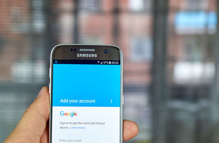 samsung: MONTREAL, CANADA - JUNE 23, 2016 : Google Account sign in on Samsung S7 screen.