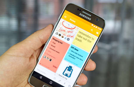 MONTREAL, CANADA - JUNE 23, 2016 : Google Keep notes and lists application on Samsung S7 screen. The app is a note taking service developed by Google. Editorial