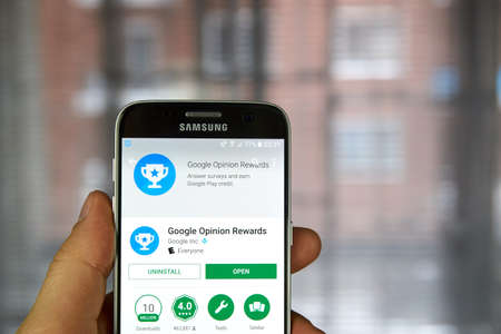 MONTREAL, CANADA - DECEMBER 23, 2016 : Google Opinion Rewards application on Samsung S7 screen. Google Opinion Rewards is an app created by Google Consumer Surveys