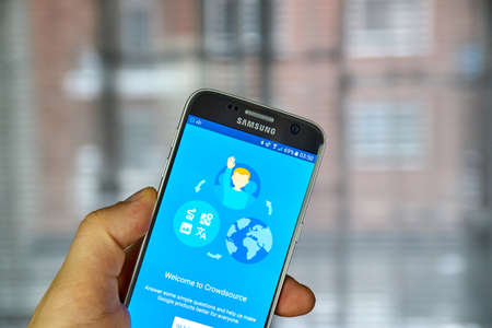 MONTREAL, CANADA - DECEMBER 23, 2016 : Google Crowdsource on Samsung S7 screen. Google Crowdsource is the new Google app which asks for user feedback to help improve its own services. Editorial