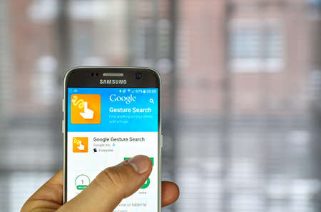 MONTREAL, CANADA - DECEMBER 23, 2016 : Google Gesture Search on Samsung S7 screen. The app lets you access contacts, apps, settings, music and bookmarks on Android device by drawing letters or numbers Editorial