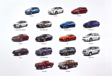 MONTREAL, CANADA - JANUARY 20, 2017 : New 2017 year Toyota cars printed on a white paper.