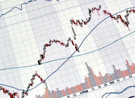 Candlestick graphs focus gap on forex chart, business and financial concept.