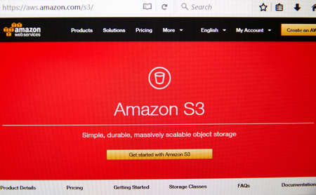 MONTREAL, CANADA - FEBRUARY 28, 2017: Amazon Web Services homepage. AWS is a secure cloud services platform, offering compute power, database storage, content delivery and other functionality.