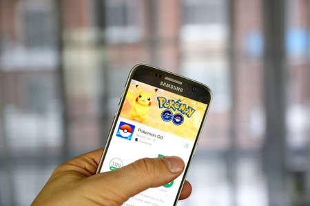 MONTREAL, CANADA - MARCH 10, 2017 : Pokemon Go on Samsung s7 screen. Pokemon Go, a free-to-play augmented reality mobile game developed by Niantic for iOS and Android devices. Editorial