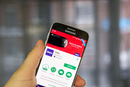 MONTREAL, CANADA - MARCH 10, 2017 : Official Roku android application on Samsung S7. Roku is a series of digital media player set-top boxes manufactured by Roku, Inc Editorial
