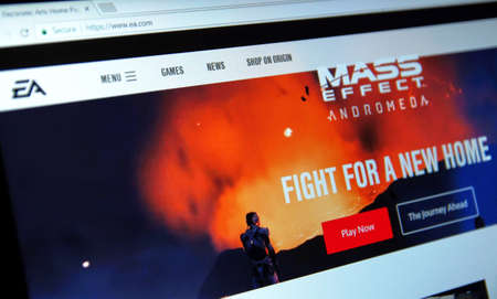 headquartered: MONTREAL, CANADA - APRIL 09, 2017: Mass Effect: Andromeda game on a home page of EA site. Electronic Arts Inc. is an American video game company headquartered in Redwood City, California.