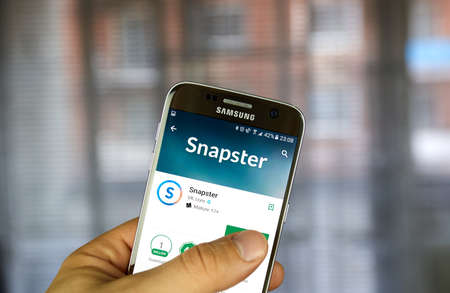 MONTREAL, CANADA - JULY 30, 2017: Vkontakte Snapster application on Samsung S7 screen. VK is the largest European online social media and social networking service. Editorial