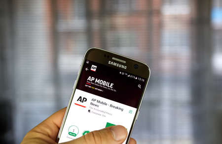 MONTREAL, CANADA - MARCH 14, 2017 - AP android application. The Associated Press is a global, not-for-profit news cooperative. Editorial