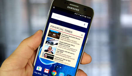 MONTREAL, CANADA - JULY 14, 2017 - The Financial Times android application. FT is an English-language international daily newspaper with a special emphasis on business and economic news.
