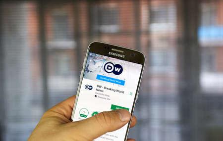 breaking: MONTREAL, CANADA - JULY 14, 2017 - Deutsche Welle android application. Deutsche Welle or DW is Germanys public international broadcaster.
