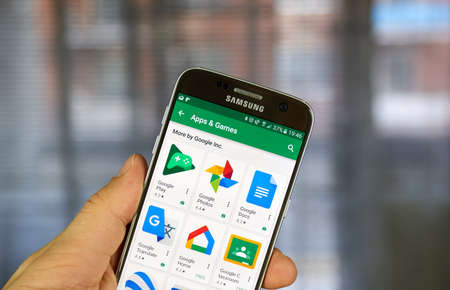 MONTREAL, CANADA - JUNE 23, 2017 : Various Google application icons on Google Play. Google Play formerly Android Market is a digital distribution service operated and developed by Google. Editorial