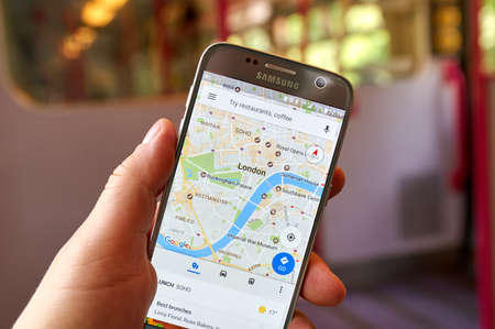 LONDON, ENGLAND - MAY 14, 2017 : Uber application on Samsung S7. Uber Technologies Inc. is an American technology company headquartered in San Francisco, California, United States Editorial