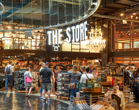 DUBLIN, IRELAND - AUGUST 3, 2017 : Guinness store in Dublin. Guinness Storehouse is a tourist attraction at St. Jamess Gate Brewery in Dublin, Ireland. Editorial
