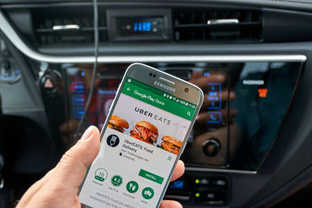MONTREAL, CANADA - AUGUST 22, 2017 : Uber Eats application on Samsung S7. Uber Technologies Inc. is an American technology company headquartered in San Francisco