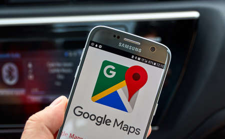 MONTREAL, CANADA - AUGUST 23, 2017 : Google Maps mobile app and logo. Google is an American multinational technology company that specializes in Internet-related services and products. Editorial