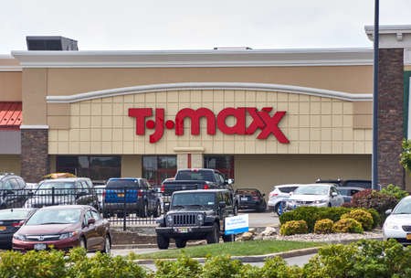 PLATTSBURGH, USA - AUGUST 23, 2017 : TJ Maxx store and parking. TJ Maxx is an American department store chain, selling at prices generally lower than other major similar stores