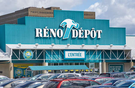 reno: PLATTSBURGH, USA - AUGUST 23, 2017 : Reno Depot store and parking. Reno-Depot is a Canadian chain of home supply stores owned by Lowes