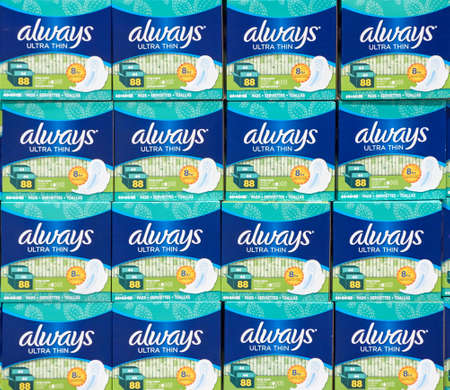 MONTREAL, CANADA - AUGUST 25, 2017 : Always ultra thin pads in costco. Always is a brand of feminine hygiene products, ultra thin pads, pantiliners, and feminine wipes, produced by Procter Gamble.