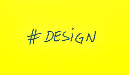 Popular hashtag design written on a yellow paper