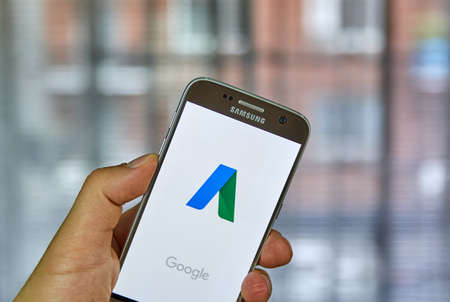 MONTREAL, CANADA - OCTOBER 2, 2017: Google Adwords android app on S7. Google AdWords is an advertising service by Google for businesses wanting to display ads. Editorial