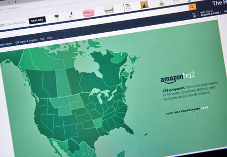 MONTREAL, CANADA - OCTOBER 24, 2017: Amazon second headquarter description and map on official website. Amazon HQ2 will be Amazons second headquarters in North America. Editorial