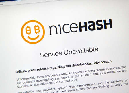 MONTREAL, CANADA - DECEMBER 7, 2017: Nicehash security breach press release on home webpage. NiceHash is a crypto-mining marketplace that connects sellers of hashing power with buyers of hashing power