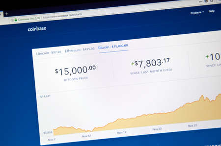 MONTREAL, CANADA - DECEMBER 7, 2017: Bitcoin USD price and chart on Coinbase webpage. Coinbase is a digital asset broker headquartered in San Francisco, California. They broker exchanges of Bitcoin
