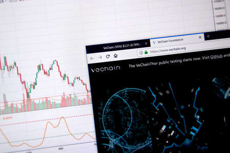 MONTREAL, CANADA - JUNE 20, 2018: Vechain crypto currency home page. Cryptocurrency is a digital currency in which encryption techniques are used to generate and transfer funds. Site - vechain.org Publikacyjne