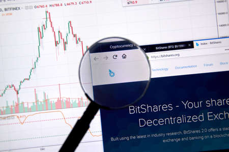 MONTREAL, CANADA - JUNE 20, 2018: Bitshares crypto currency home page. Cryptocurrency is a digital currency in which encryption techniques are used to generate and transfer funds. Site - bitshares.org